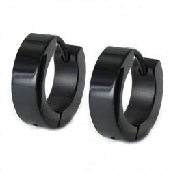 pendiente de acero aro negro 14x4mm