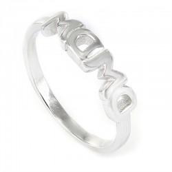 anillo de plata rodiada MAMA