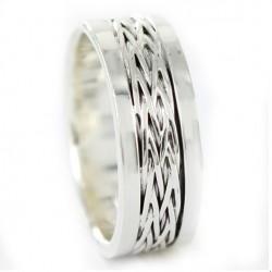 anillo de plata de 7 mm espiga bisel