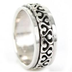 anillo de caballero de plata antiestrés de 8 mm