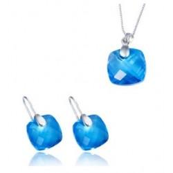 juego de plata de ley rodiada con piedras azules