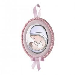 Medallon de cuna rosa Virgen y niño a color