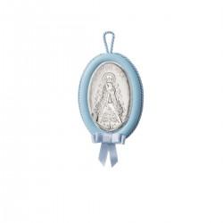 Medallon musical Virgen del Rocio en celeste