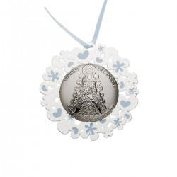 medallon virgen del rocio turquesa calado 6 cms