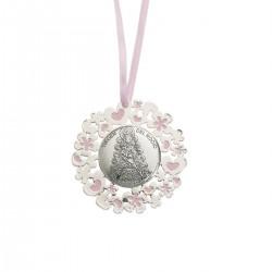 medallon virgen del rocio rosa calado 6 cms