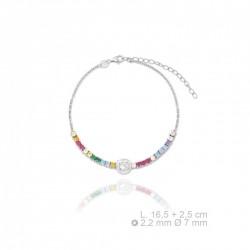 pulsera de plata con zirconitas de colores