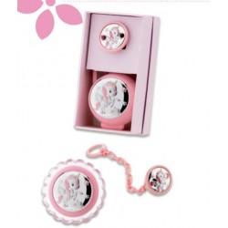 set pinza + p. chupetes unicornio rosa