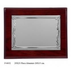 placa 29x23 alum. 20x15 madera