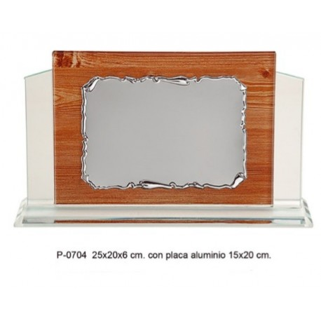 placa cristal 25x20x6 + placa aluminio 15x20