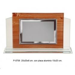placa cristal 25x20x6 + placa alum 15x 20